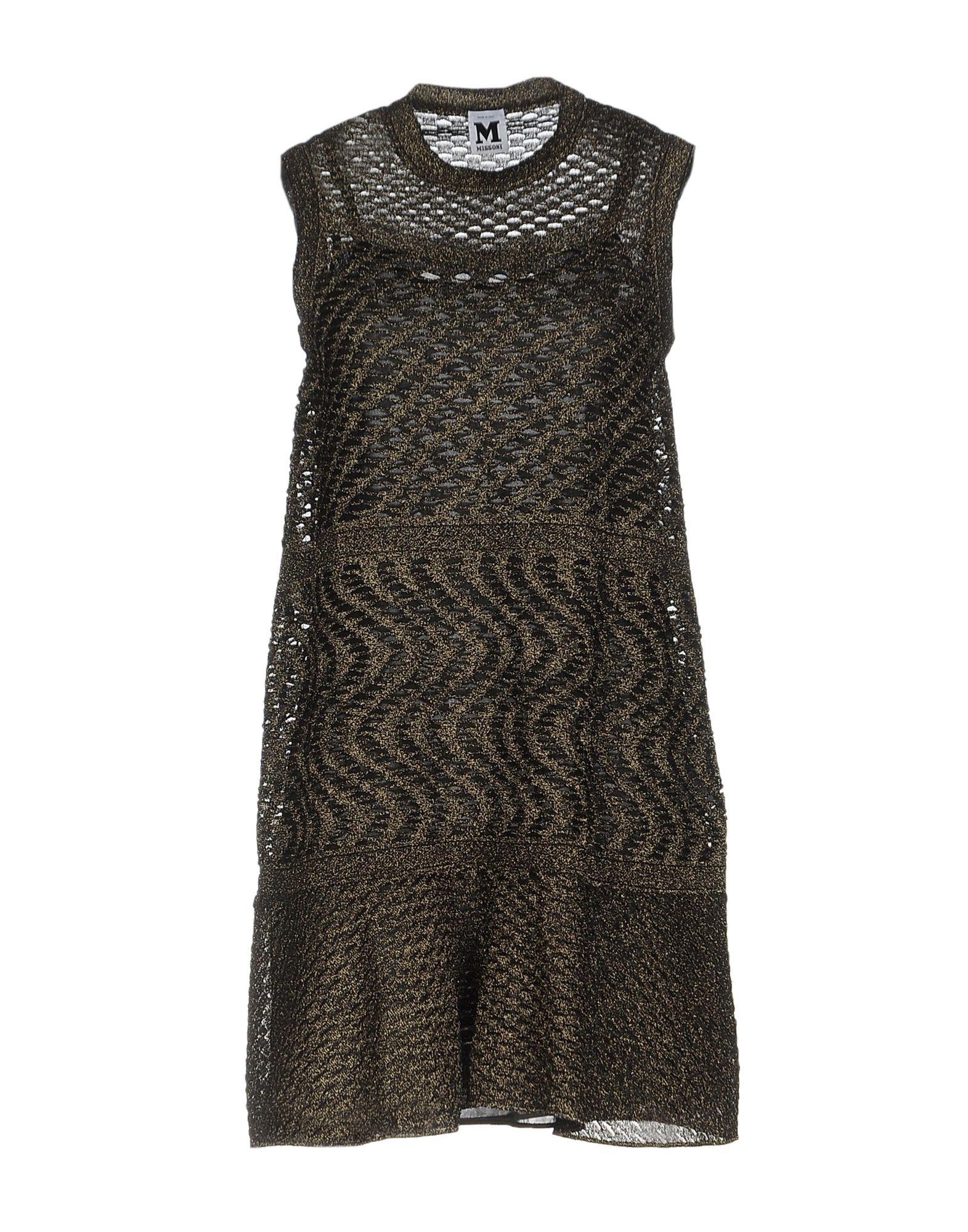 M MISSONI Damen Kurzes Kleid Farbe Gold Größe 5