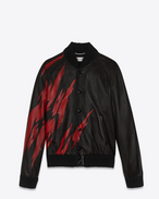 SAINT LAURENT Leather jacket U Black and Red Flame TEDDY Jacket in leather f