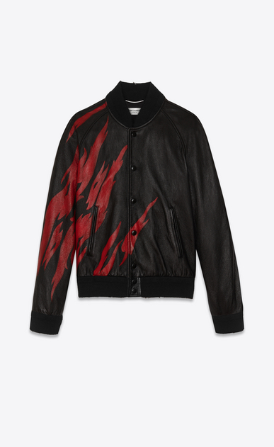 SAINT LAURENT Leather jacket U Black and Red Flame TEDDY Jacket in leather a_V4