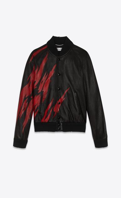 SAINT LAURENT Leather jacket U Black and Red Flame TEDDY Jacket in leather v4