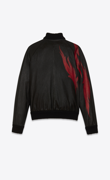 SAINT LAURENT Leather jacket Man Black and Red Flame TEDDY Jacket in leather b_V4