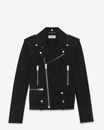 SAINT LAURENT Leather jacket U Classic YSL Black Suede Motorcycle Jacket f
