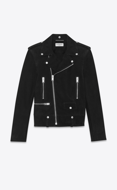 SAINT LAURENT Leather jacket Man Classic YSL Black Suede Motorcycle Jacket a_V4