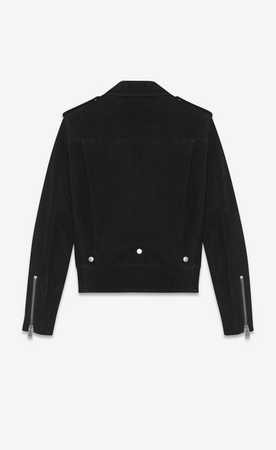SAINT LAURENT Leather jacket Man Classic YSL Black Suede Motorcycle Jacket b_V4
