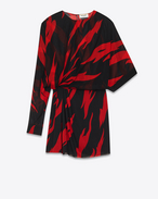 SAINT LAURENT Dresses D Black and Red Flame Print Draped Side Asymmetrical Mini Dress in silk f