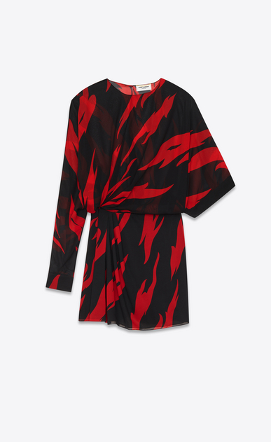 SAINT LAURENT Dresses D Black and Red Flame Print Draped Side Asymmetrical Mini Dress in silk v4