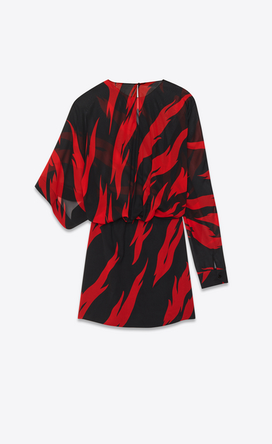 SAINT LAURENT Dresses D Black and Red Flame Print Draped Side Asymmetrical Mini Dress in silk b_V4