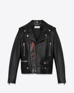SAINT LAURENT Leather jacket D Classic Black and Red Flame Motorcycle Jacket in leather f