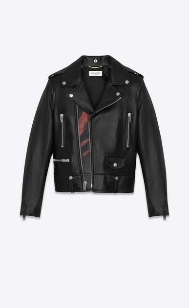 SAINT LAURENT Vestes Cuir D Veste motard en cuir à imprimé flammes noir et rouge a_V4