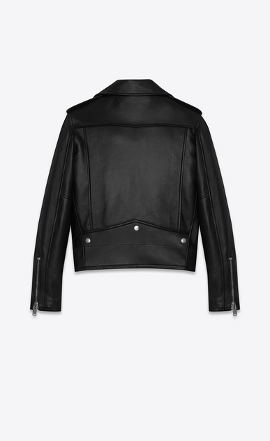 SAINT LAURENT Leather jacket D Classic Black and Red Flame Motorcycle Jacket in leather b_V4