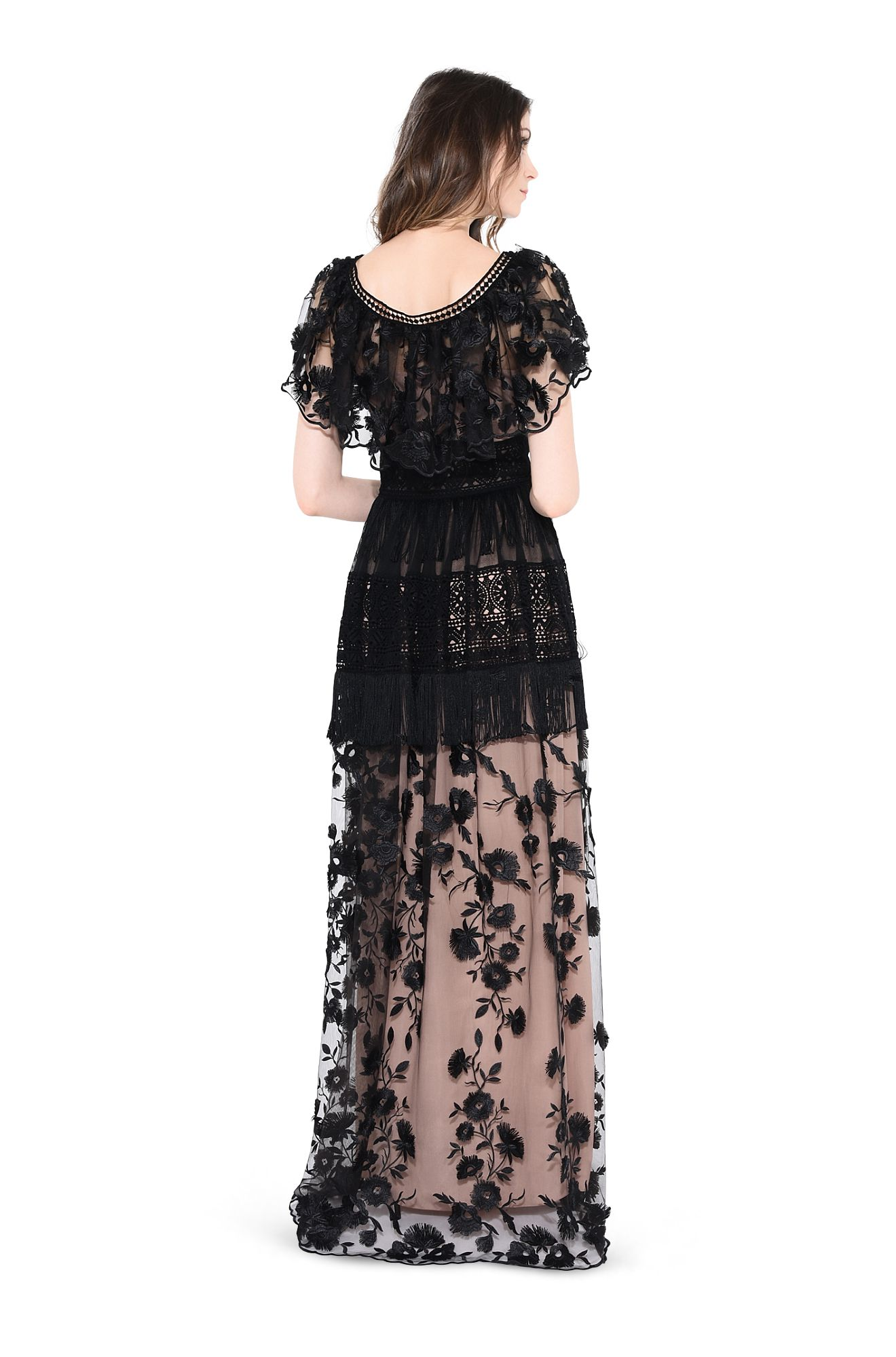 ALBERTA FERRETTI CASUAL D BATTERFLY LONG DRESS r