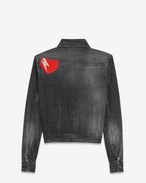 SAINT LAURENT Casual Jackets D Original YSL Heart and Lightening Bolt Patch Jean Jacket in Black Bleached Denim f