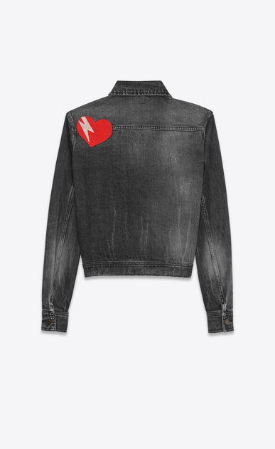 SAINT LAURENT Casual Jackets D Original YSL Heart and Lightening Bolt Patch Jean Jacket in Black Bleached Denim a_V4