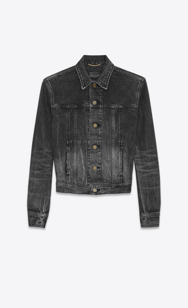 SAINT LAURENT Casual Jackets D Original YSL Heart and Lightening Bolt Patch Jean Jacket in Black Bleached Denim b_V4