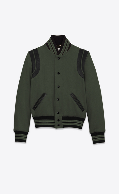 SAINT LAURENT Casual Jackets D Classic Teddy Jacket in Khaki Wool a_V4