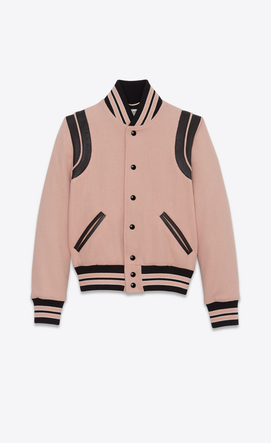 SAINT LAURENT Casual Jackets D Classic Teddy Jacket in Powder Wool a_V4