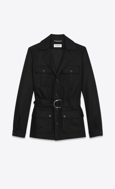 SAINT LAURENT Casual Jackets D SAHARIENNE Jacket in Black Cotton Gabardine a_V4