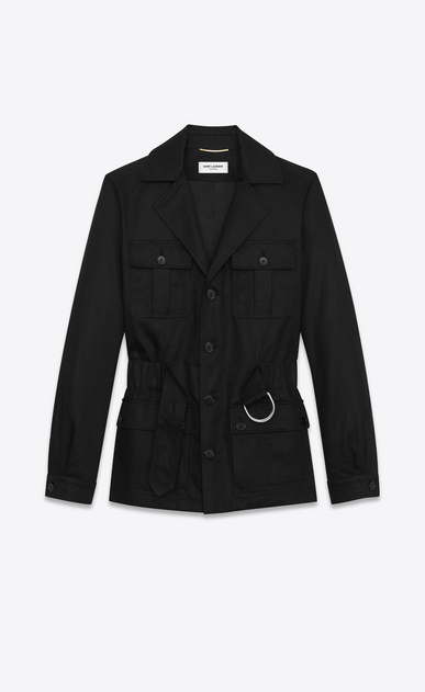 SAINT LAURENT Casual Jackets D SAHARIENNE Jacket in Black Cotton Gabardine b_V4