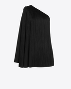 SAINT LAURENT Dresses D One-Shoulder Fringed Cape Dress in Black Satin f