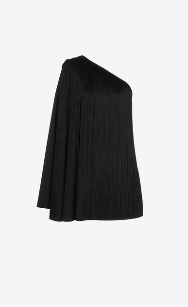 SAINT LAURENT Dresses D One-Shoulder Fringed Cape Dress in Black Satin a_V4