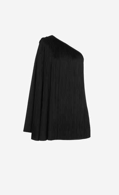 SAINT LAURENT Dresses D One-Shoulder Fringed Cape Dress in Black Satin v4