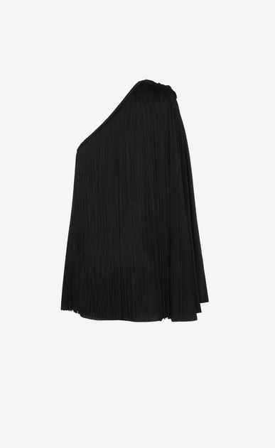 SAINT LAURENT Dresses D One-Shoulder Fringed Cape Dress in Black Satin b_V4