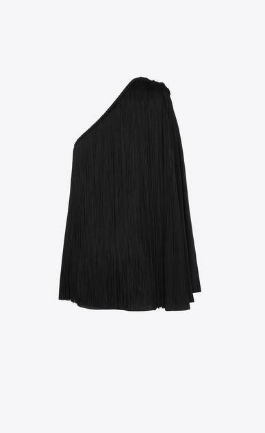 SAINT LAURENT Kleider D Cape-Kleid aus schwarzem Satin mit freier Schulter und Fransen b_V4