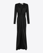 SAINT LAURENT LONG DRESSES D V-Neck Gathered Waist Long Dress in Black Satin f