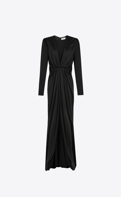 SAINT LAURENT LONG DRESSES D V-Neck Gathered Waist Long Dress in Black Satin a_V4