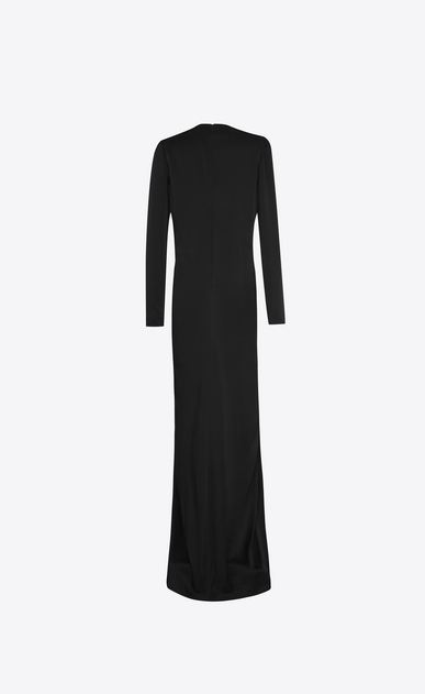 SAINT LAURENT LONG DRESSES D V-Neck Gathered Waist Long Dress in Black Satin b_V4