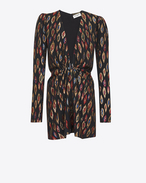 SAINT LAURENT Dresses D V-Neck Gathered Waist Long Sleeve Mini Dress in Multicolor Silk and Lamé f