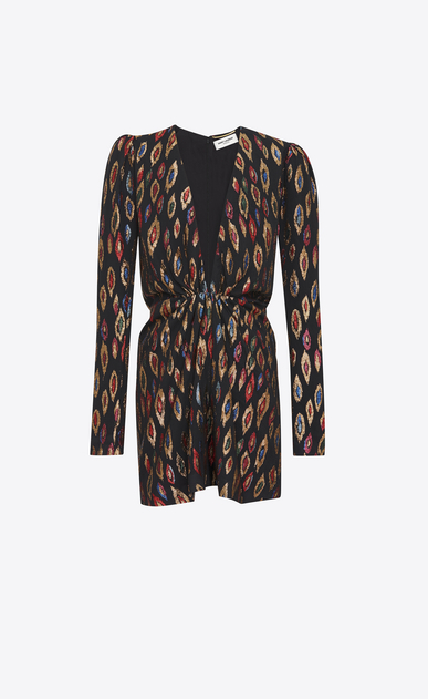 SAINT LAURENT Dresses D V-Neck Gathered Waist Long Sleeve Mini Dress in Multicolor Silk and Lamé a_V4