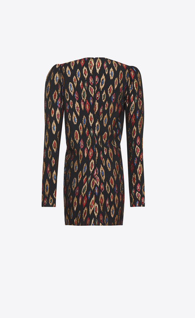 SAINT LAURENT Dresses D V-Neck Gathered Waist Long Sleeve Mini Dress in Multicolor Silk and Lamé b_V4