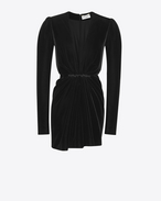 SAINT LAURENT Dresses D V-Neck Gathered Waist Long Sleeve Mini Dress in Black Velvet f