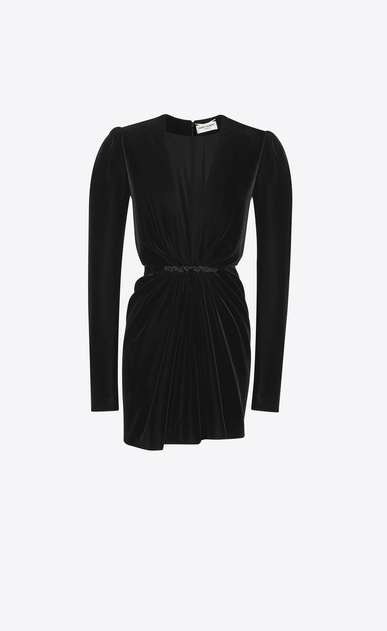 SAINT LAURENT Dresses Woman V-Neck Gathered Waist Long Sleeve Mini Dress in Black Velvet a_V4
