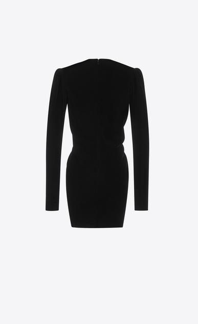 SAINT LAURENT Dresses Woman V-Neck Gathered Waist Long Sleeve Mini Dress in Black Velvet b_V4
