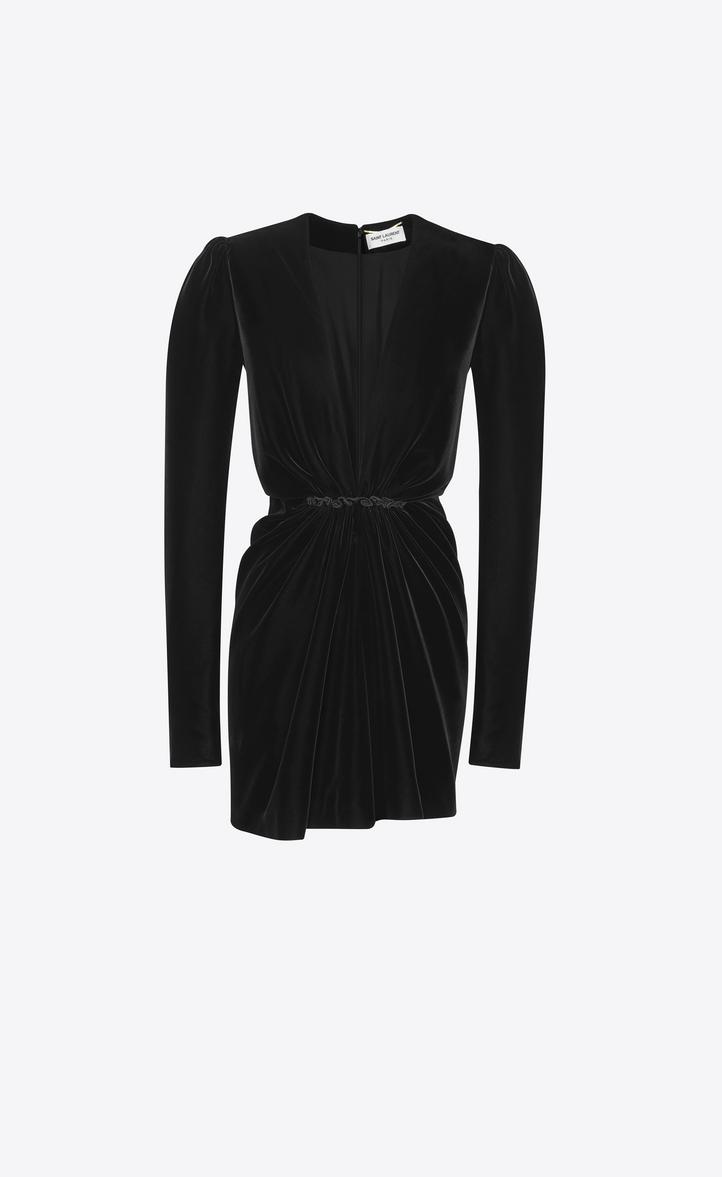 335fd43a89 Saint Laurent V Neck Gathered Waist Long Sleeve Mini Dress In ...