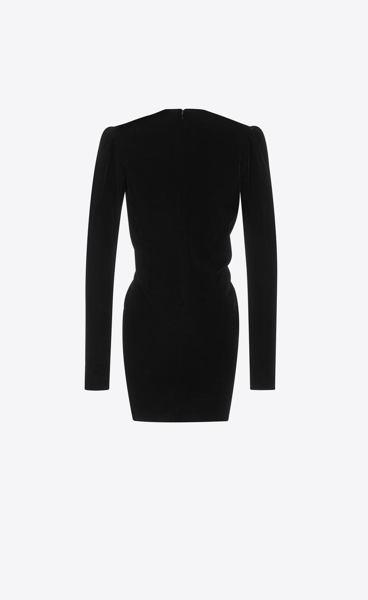 0864459816 Zoom  V-Neck Gathered Waist Long Sleeve Mini Dress in Black Velvet