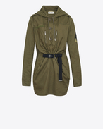 SAINT LAURENT Dresses D Parka Dress in Khaki Cotton Gabardine f