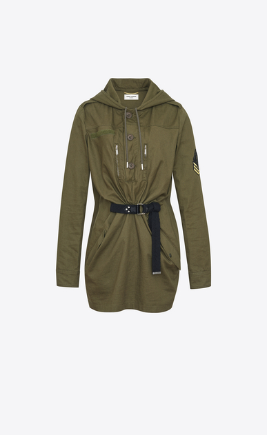SAINT LAURENT Dresses D Parka Dress in Khaki Cotton Gabardine a_V4
