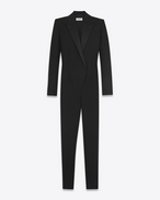 SAINT LAURENT VESTITI LUNGHI D Jumpsuit Iconic LE SMOKING nera in lana f