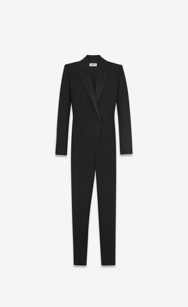 SAINT LAURENT LONG DRESSES D Iconic LE SMOKING Jumpsuit in Black Wool a_V4