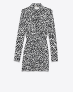 SAINT LAURENT Dresses D Gathered Waist Long Sleeve Mini Shirtdress in Black and White Heart Petal Printed Silk Crêpe f