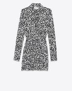 SAINT LAURENT Kleider D Langärmeliges Mini-Hemdkleid aus schwarzem und weißem Seidencrêpe mit geraffter Taille f