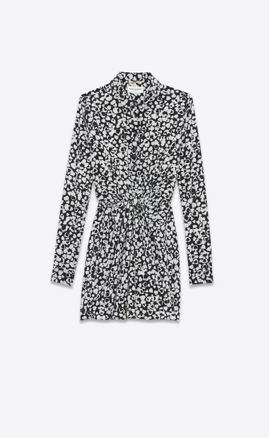 Gathered Waist Long Sleeve Mini Shirtdress in Black and White Heart Petal Printed Silk Crêpe
