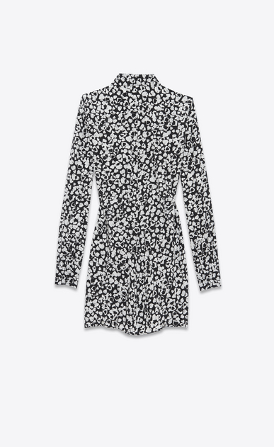 SAINT LAURENT Dresses D Gathered Waist Long Sleeve Mini Shirtdress in Black and White Heart Petal Printed Silk Crêpe b_V4