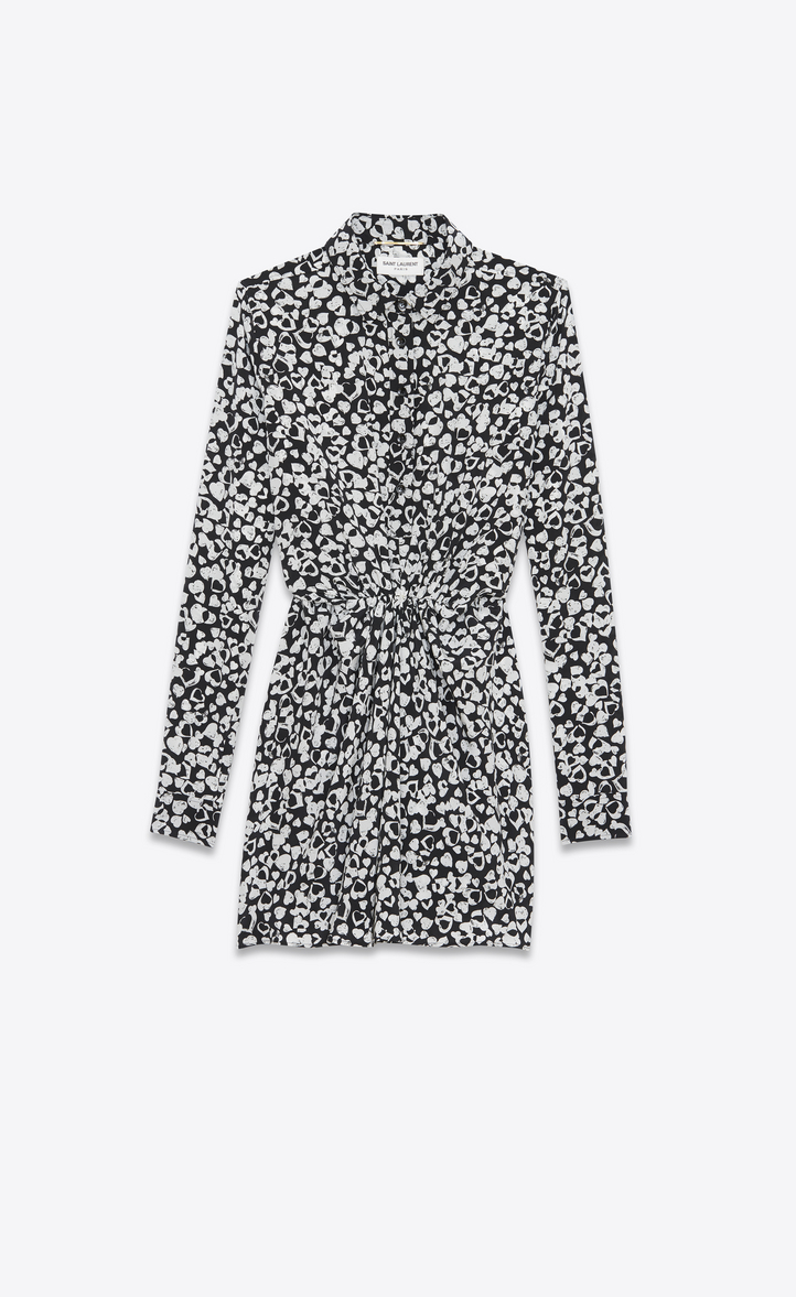 gathered waist shirt dress - Black Saint Laurent