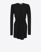 SAINT LAURENT Kleider D Gathered Waist Long Sleeve Mini Dress in Black Sablé f