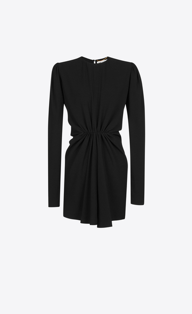 SAINT LAURENT Dresses D Gathered Waist Long Sleeve Mini Dress in Black Sablé a_V4