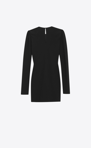SAINT LAURENT Dresses Woman Gathered Waist Long Sleeve Mini Dress in Black Sablé b_V4
